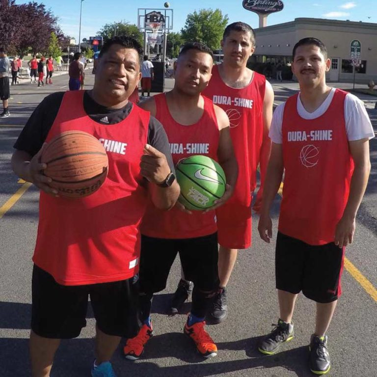 dura-shine janitorial cleaners play basketball during tri-cities see3slam tournament