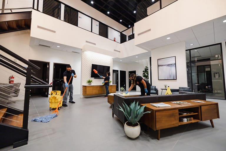 Cleaners for Dura-Shine conduct commercial cleaning services